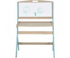 Bureau évolutif pour enfant avec tableau en acacia bleu