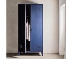 Armoire bleue en acier 2 portes battantes