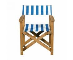 Chaise de casting pliable pour enfant rayures bleues