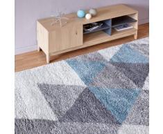 Tapis à poils longs motifs géométriques bleu 200x290cm