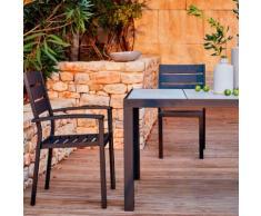 Chaise de jardin empilable noire en aluminium