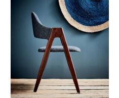 Chaise en tissu gris foncé piètement bois foncé