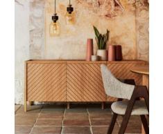 Chaise en tissu gris clair piètement bois foncé