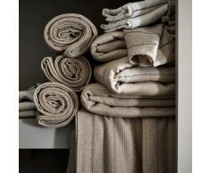 Chemin de table en lin et coton à motifs brun châtaignier 50x150cm