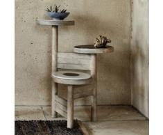 Sellette 3 plateaux en manguier et marbre H59.5cm