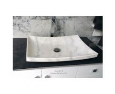Vasque en pierre à poser 60X40 en marbre Blanc - BALI WHITE