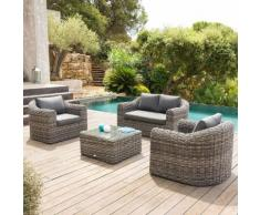 Salon de jardin Mooréa Terre d'ombre 4 places - Aluminium, Résine tressée