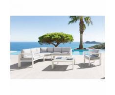 Salon Titanium Perle & Blanc mat Jardin 6 places - Aluminium, Polyester