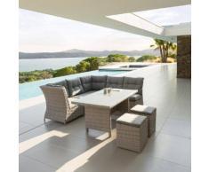 Salon d'angle de jardin Cuba Grège 7 places - Aluminium, Résine tressée