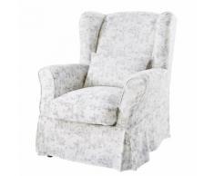 Housse de fauteuil en coton imprimé toile de Jouy 80x98