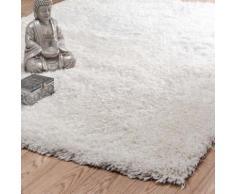 Tapis à poils longs en tissu écru 140 x 200 cm POLAIRE