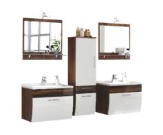 Ensemble double de meuble de salle de bain Paloma Noyer-Blanc 7-pièces