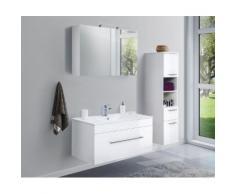 Ensemble de meuble de salle de bain VIVA 100 (3 Pièces) blanc brillant