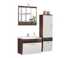 Ensemble de meuble de salle de bain Paloma Noyer-Blanc 4-pièces