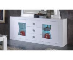 gdegdesign Buffet bahut laqué blanc LED 2 portes + 3 tiroirs - Orson