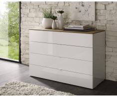 gdegdesign Commode laquée blanche 4 tiroirs plateau bois miel - Sophia