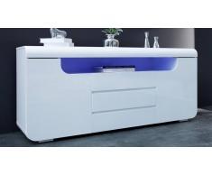 gdegdesign Buffet bahut design laqué blanc avec LED - Nao