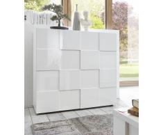 gdegdesign Buffet haut meuble de rangement blanc laqué 2 portes - Faust