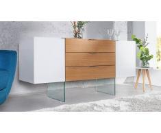gdegdesign Buffet bahut design 2 portes + 3 tiroirs bois de chêne et laqué blanc brillant - Varberg