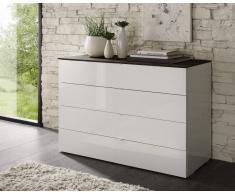gdegdesign Commode laquée blanche 4 tiroirs plateau bois wengé - Sophia