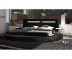 gdegdesign Lit rond design noir 200x200 cm simili cuir - Uster