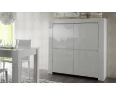 gdegdesign Buffet haut meuble de rangement blanc laqué 4 portes - Naomi