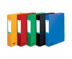 Boîte classement non montée BOSTON. CL 7/10e. Dos 6cm. Coloris assortis Bleu,vert,noir,rouge,jaune - Lot de 50