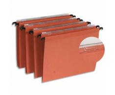 Boîte de 25 dossiers suspendus TIROIR en kraft 210g. Fond V, volet agrafage. Orange.