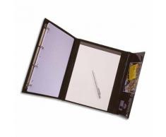 Conférencier CLAPRES PVC noir. Mécanisme 4 anneaux diam 16mm. Porte-bloc, pochettes et porte-stylo