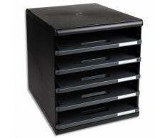 Module de classement 5 tiroirs ouverts, format A4 +. Dim: L28,8 x H32 x P35 cm. Coloris noir