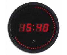 Horloge à led Horled cadre plastique noir lentille en verre D30cm affichage numérique rouge à quartz