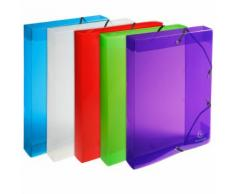 Boite de classement Exabox Dos 40mm Polypropylène Crystal Colours - A4 - Lot de 8
