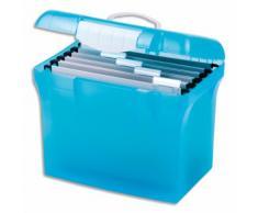 Valise classement polypropylène bleu translucide cadenassable. Livré avec avec dossiers suspendus