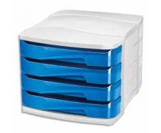 Module de classement GLOSS 4 tiroirs - Dimensions L29,2 x H24,6 x P38,6 cm. Coloris bleu océan