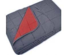 Couvre-lit réversible - gris / rouge