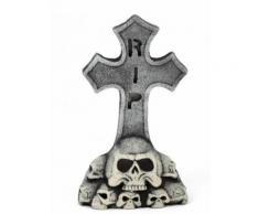 Pierre tombale grise RIP décoration Halloween tête de mort 30x52cm Taille Unique