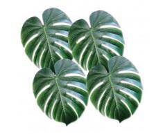 4 Feuilles de palmier en plastique vert Taille Unique