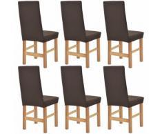 vidaXL Housse extensible de chaise 6 pièces Piqué Marron