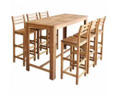 vidaXL Table et tabourets de bar 7 pièces Bois d'acacia massif