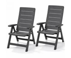 "Allibert Chaise inclinable de jardin ""Brasilia"" 2 pcs Graphite"
