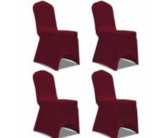 vidaXL Housse de chaise extensible 4 pcs Bordeaux