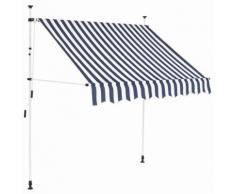 vidaXL Auvent rétractable manuel 150 cm Rayures bleues et blanches