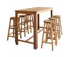 vidaXL Table et tabourets de bar 7 pcs Bois d'acacia massif