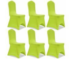 vidaXL Housse de chaise extensible 6 pcs vert