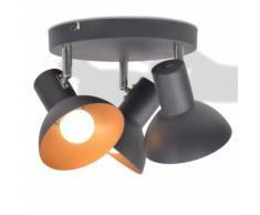 vidaXL Plafonnier pour 3 ampoules E27 Noir et doré
