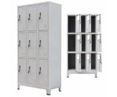 vidaXL Armoire à casiers avec 9 compartiments Acier 90x45x180 cm Gris