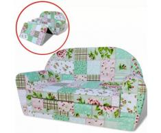 vidaXL Chaise longue pliable pour enfants motif de fleurs