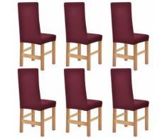 vidaXL housses de chaise en polyester tricoté extensible 6 pcs bordeau