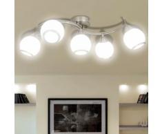 vidaXL Plafonnier avec abat-jour en verre 5 ampoules E14