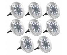 vidaXL Lampe solaire de sol 8 pcs Lumières LED Blanc